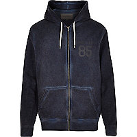 Blue burnout zip through 85 hoodie