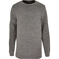 Grey ripple textured curved hem sweatshirt