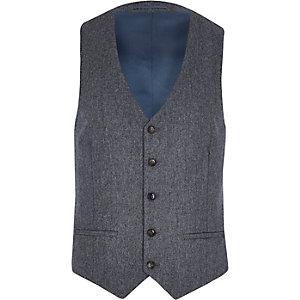 Grey herringbone wool-blend waistcoat