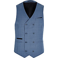 Blue double breasted wool-blend waistcoat