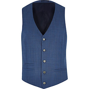 Blue textured wool-blend vest