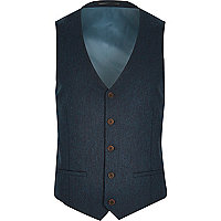Blue paisley panel waistcoat