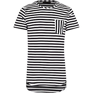 White Vito stripe pocket t-shirt