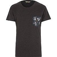 Navy RVLT wolf pocket print t-shirt