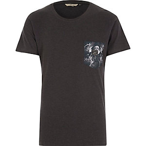 Navy RVLT wolf pocket print t-shirt