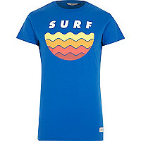 Blue RVLT surf print short sleeve t-shirt