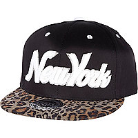 Black New York leopard print flatpeak hat