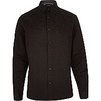Black paisley print long sleeve shirt