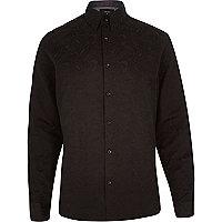 Black paisley woven long sleeve shirt