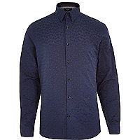 Navy paisley print long sleeve shirt
