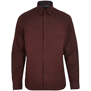 Red dobby spot paisley print shirt