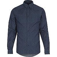 Navy RVLT ditsy print shirt