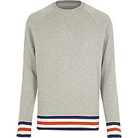 Grey stripe tipping raglan sweatshirt