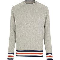 Grey RVLT stripe tipping raglan sweatshirt
