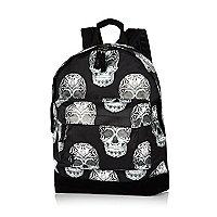 Black Mipac skulls print backpack