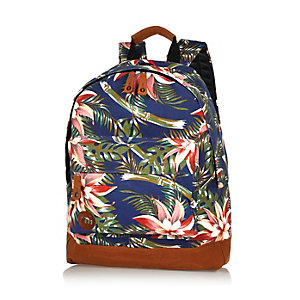 Navy Mipac tropical print backpack