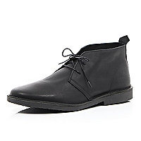 Black leather lace up desert boots
