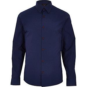 Navy long sleeve burgundy button shirt
