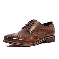Brown leather formal colour heel brogues