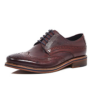 Dark red leather formal brogues