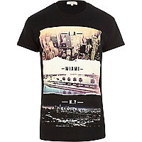 Black cities print short sleeve t-shirt