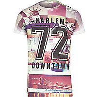 Brown Harlem print t-shirt