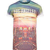 Orange Los Angeles California print t-shirt