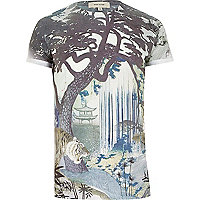 Blue Japanese print t-shirt