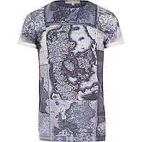 Blue map print t-shirt
