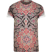 Brown mosaic print t-shirt
