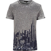 Grey New York skyline print t-shirt