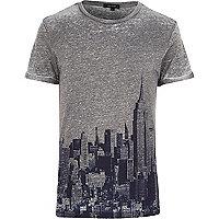 Grey New York skyline print t-shirt