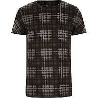 Grey burnout check print t-shirt