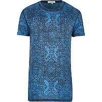 Blue motif print t-shirt