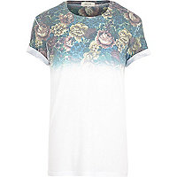 White tapestry fade print t-shirt