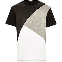 Black cut and sew leather-look panel t-shirt