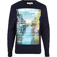 Navy Amsterdam print sweatshirt