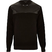 Black textured leather-look sweatshirt