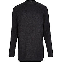 Dark grey zip trim longer length jumper