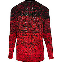 Red ombre cable knit jumper