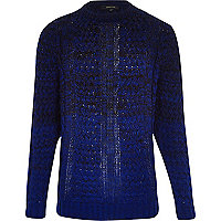 Blue ombre cable knit jumper
