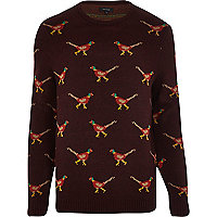 Red pheasant Christmas jumper