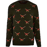Green pheasant Christmas jumper