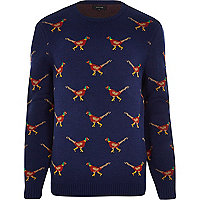 Navy pheasant Christmas jumper