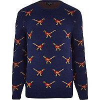 Navy pheasant Christmas jumper