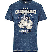 Blue marl Brooklyn boxing club print t-shirt
