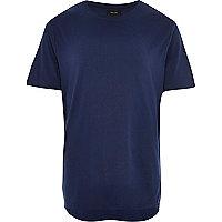 Dark blue zip trim curved hem t-shirt