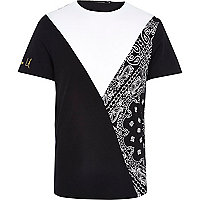 White paisley cut and sew t-shirt