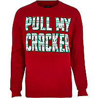 Red Christmas pull my cracker print jumper