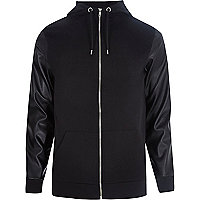 Black leather-look zip through hoodie